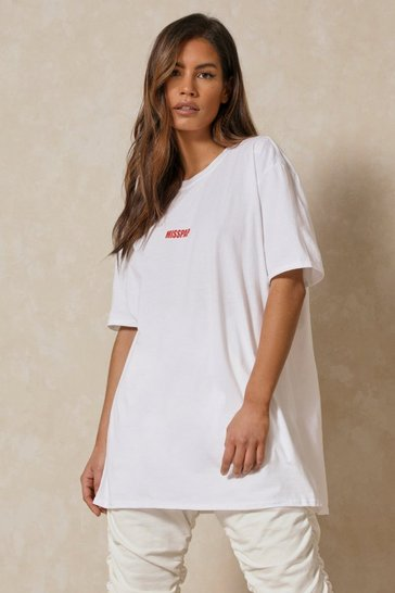 White MISSPAP Branded Oversized T-Shirt Dress