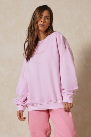 Pink Los Angeles Slogan Oversized Sweatshirt