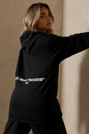 Black Off-Work Slogan Oversized Hoodie