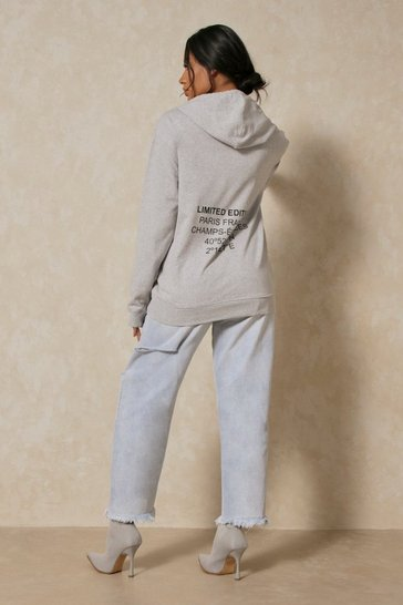 Grey marl Limited Edition Paris Oversized Hoodie