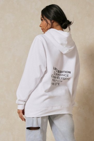White Limited Edition Paris Oversized Hoodie