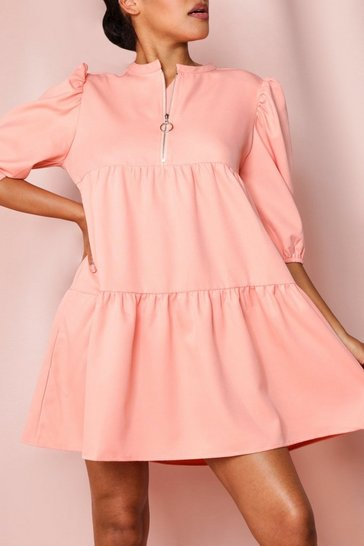 Peach Zip Front Puff Sleeve Smock Dress