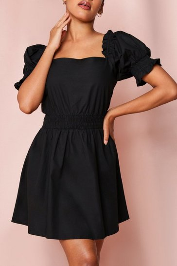 Black Shirred Waist Puff Sleeve Skater Dress