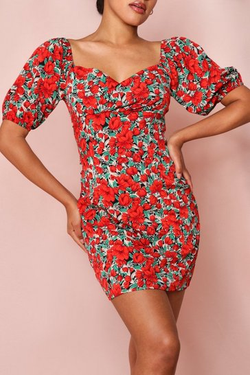 Red Floral Puff Sleeve Tea Dress