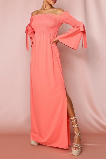 Coral Shirred Flute Sleeve Bardot Maxi Dress