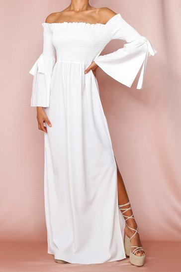 White Shirred Flute Sleeve Bardot Maxi Dress