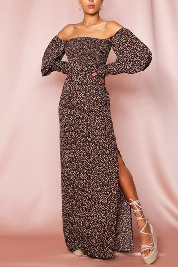 Black Ditsy Floral Shirred Puff Sleeve Maxi Dress