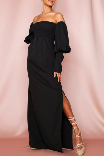 Black Shirred Bardot Puff Sleeve Maxi Dress