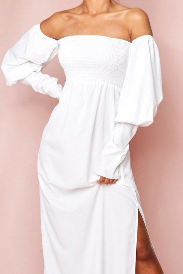 White Shirred Bardot Puff Sleeve Maxi Dress
