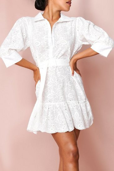 White Eyelet Puff Sleeve Belted Shirt Dress