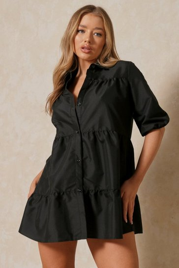 Black Puff Sleeve Smock Shirt Dress