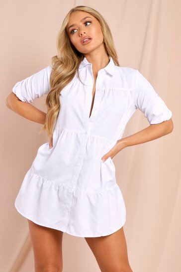 White Puff Sleeve Smock Shirt Dress