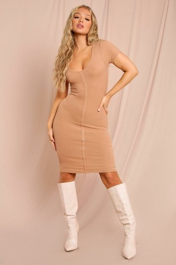 Camel Button Through Mini Dress