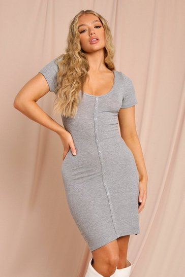 Grey marl Button Through Mini Dress