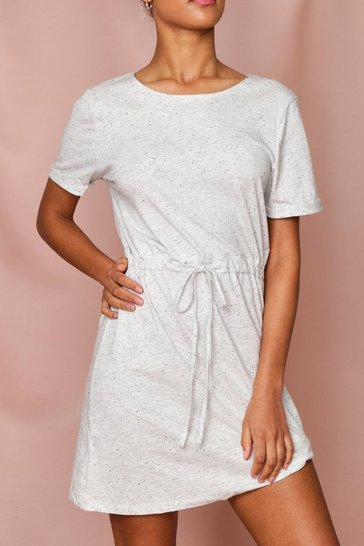 Ecru T-Shirt Dress With Tie Waist