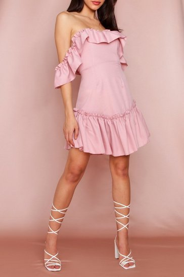 Pink Frill Detail Bardot Swing Dress