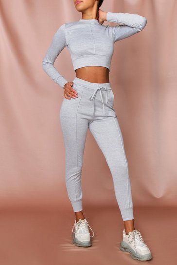 Grey Pin Tuck Detail Cropped Sweater & Jogger Set