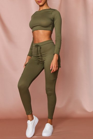 Khaki Ribbed Crop Top & Utility Style Leggings