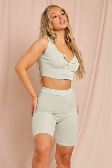 Sage Ribbed Strappy Popper Crop Top & Cycling Short