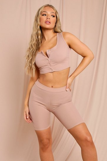 Sand Ribbed Strappy Popper Crop Top & Cycling Short