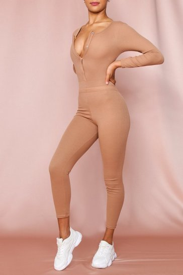 Camel Ribbed Long Sleeved Popper Bodysuit & Legging set