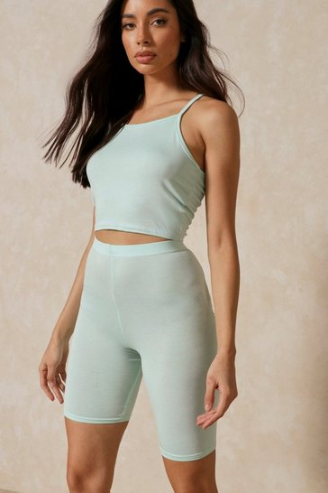 Mint Strappy Racer Top & Biker Short Two-Piece