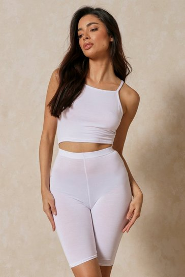 White Strappy Racer Top & Cycling Short Co-Ord