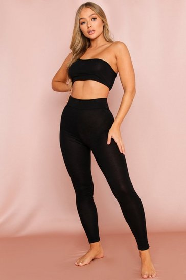 Black Strappy One Shoulder Crop Top & Legging Co-Ord