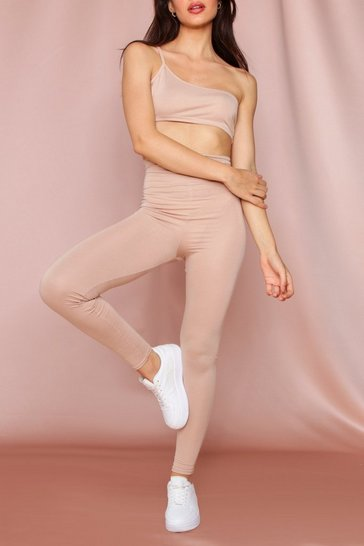 Stone Strappy One Shoulder Crop Top & Legging Co-Ord