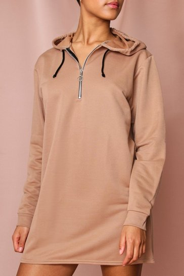 Sand Zip Neck Casual Hooded Sweat Dress