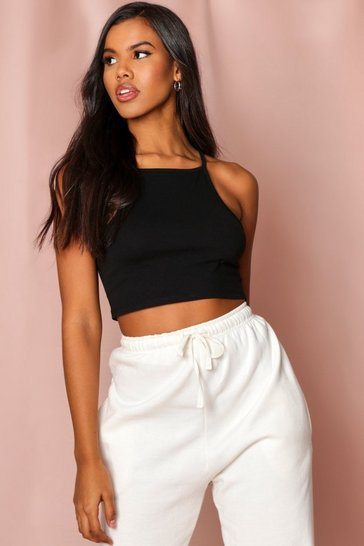 Black Strappy Racer Cropped Vest Top