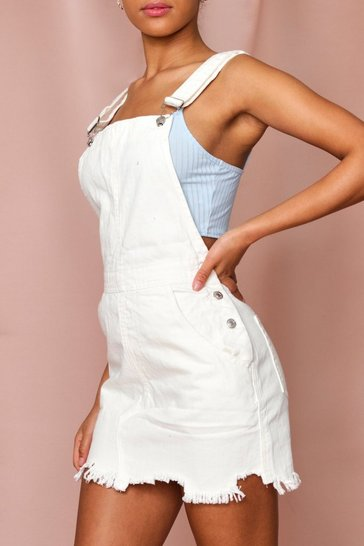 White Raw Edge Denim Overall Dress