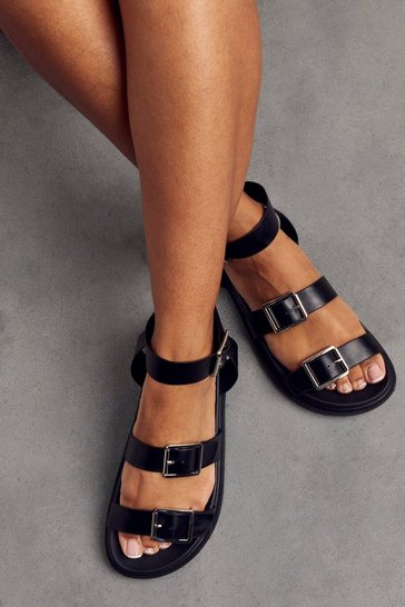 Black Chunky Buckle Detail Sandals