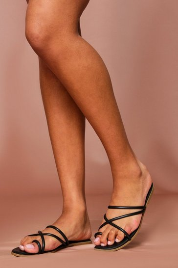 Black Strappy Flat Sliders