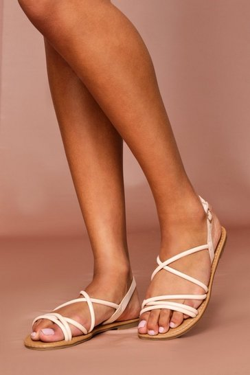 Nude Strappy Ankle Tie Flat Sandals