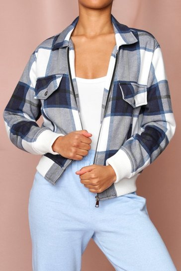 Blue Checked Pocket Detail Jacket