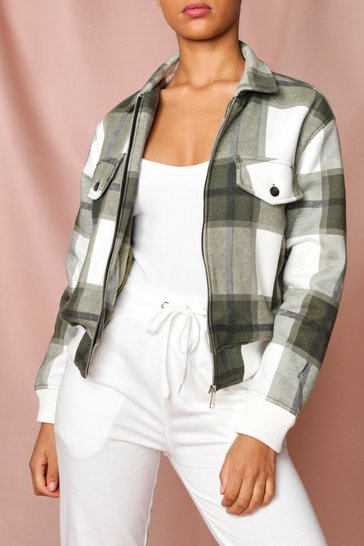 Green Checked Pocket Detail Jacket