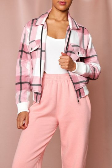 Pink Checked Pocket Detail Jacket