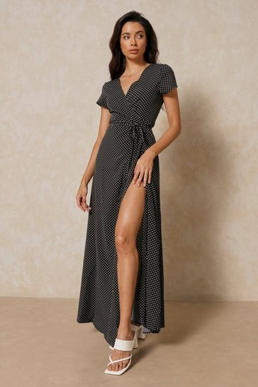 Black Polka Dot Wrap Front Maxi Dress
