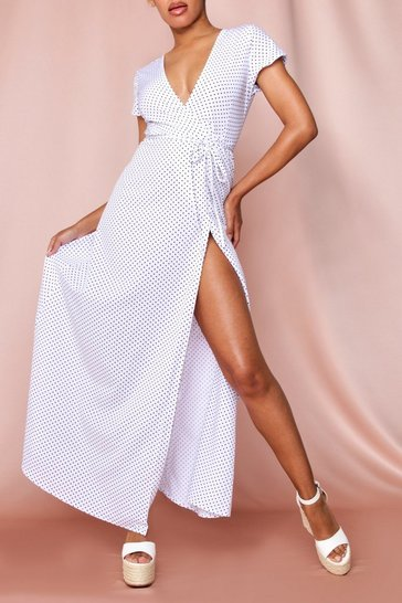 White Polka Dot Wrap Front Maxi Dress