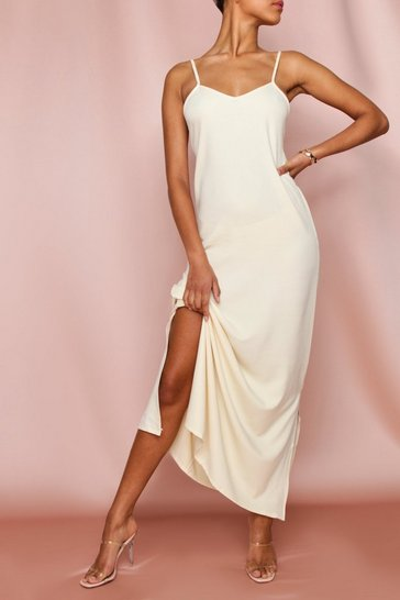 Cream Plunge Backless Strappy Maxi Dress