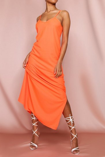 Orange Plunge Backless Strappy Maxi Dress