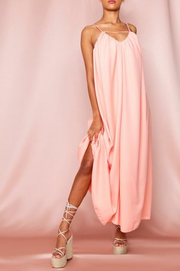 Peach Strappy Plunge Floaty Maxi Dress
