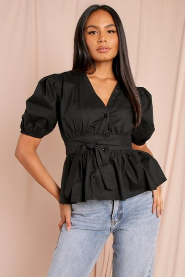Black Puff Sleeve Bow Front Blouse
