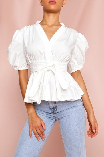 White Puff Sleeve Bow Front Blouse