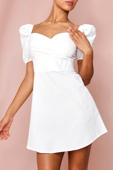 White Puff Sleeve Wrap Front Skater Dress