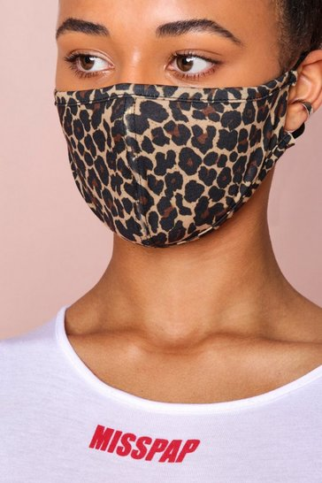 Brown Leopard AOP Fashion Face Mask
