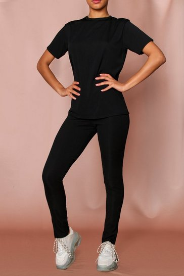 Black Ribbed T-Shirt Split Legging Co-Ord