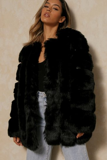 Black Oversized Luxe Paneled Faux Fur Coat
