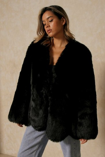 Black Luxe Paneled Faux Fur Coat
